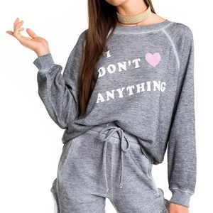 NWT Wildfox ' I don't ❤️anything' Sweatshirt